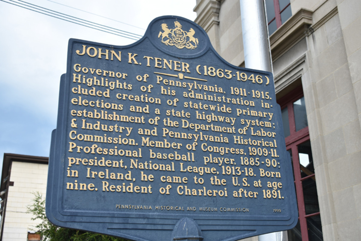 A historic marker found in Charleroi, Pennsylvania sums up Tener's accomplishments.