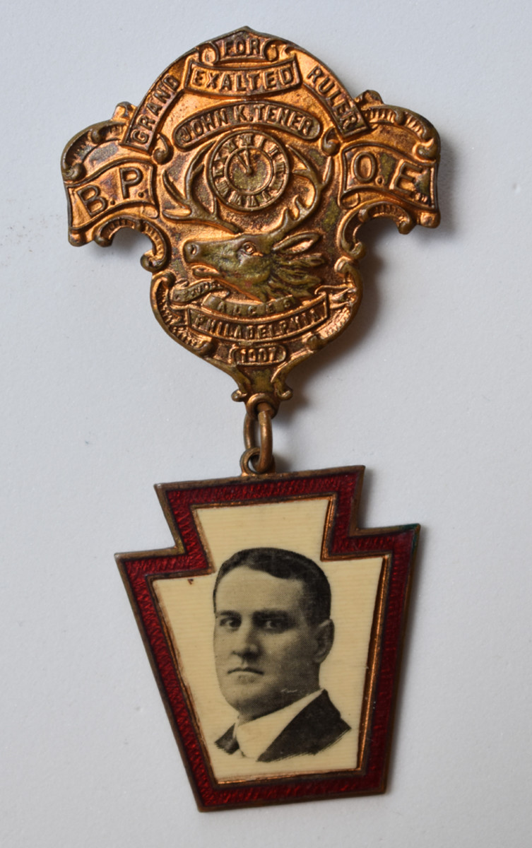 Tener is featured in this lodge badge while running for the Grand Exalted Ruler of the Elks on the national level.