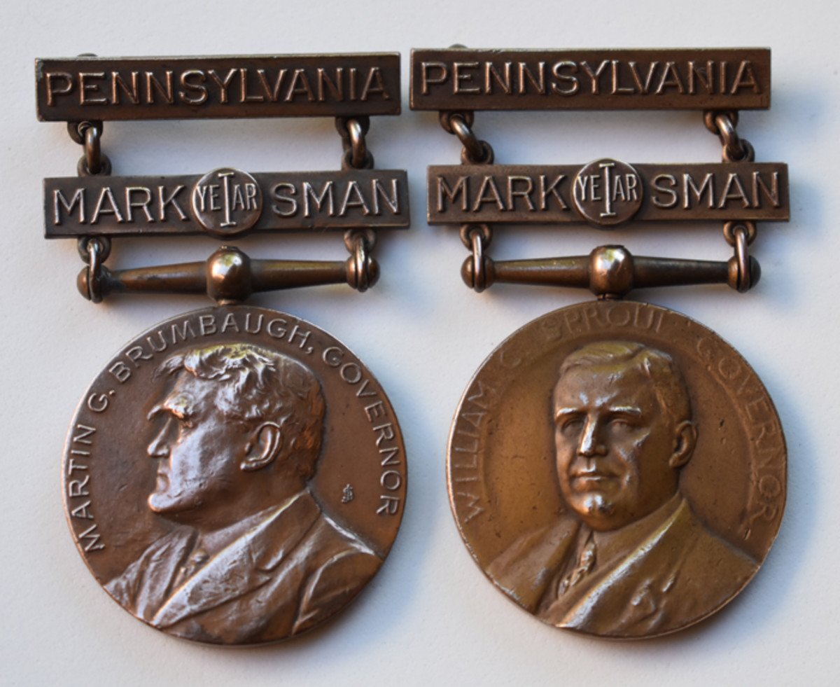 Pennsylvania governors were limited to four year terms. Gov. Sproul was the last Commander in Chief to be featured on a Pennsylvania marksman qualification award (right).