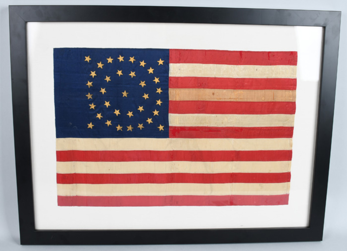 Ultra-rare Civil War double-sided silk flag or guidon with 35 hand-painted gilt stars, saw military service.