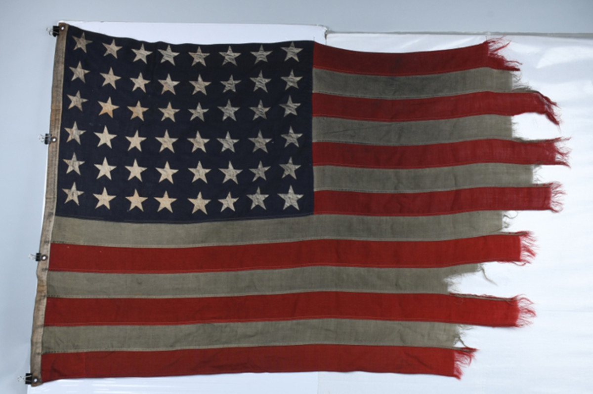 Omaha Beach D-Day American Flag flown on the mast of LCI (Landing Craft Infantry) (L)-413, which brought ashore the valiant 115th Infantry Regiment on June 6, 1944. Extensive provenance.