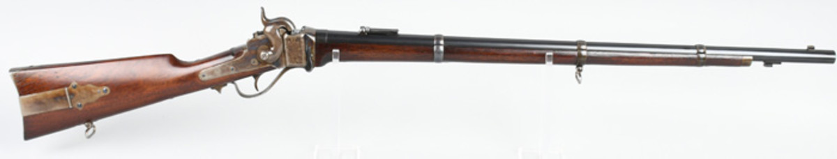 Extraordinary unfired Sharps Rifle Mfg. Co. (Hartford, Conn.) Model 1863 military rifle, made in 1865, .52 caliber, of a type ordered to outfit US Volunteers. Possibly the finest surviving example of its type.