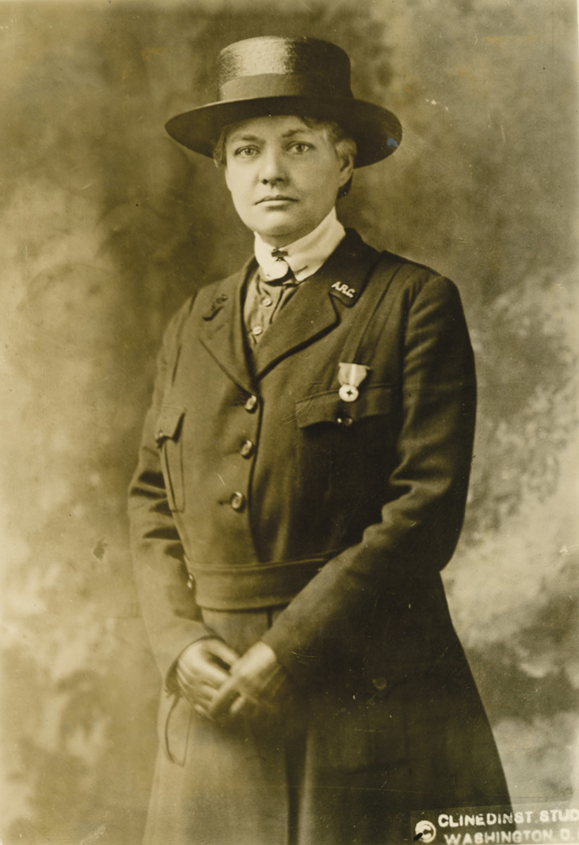 Miss Lucy Minnegerode of Fairfax, VA, Superintendent of the United States Public Health Nurse Corps. She had been a Chief Nurse of American Red Cross unit that was sent to Kiev, Russia, in 1915. When US entered the war, she was reassigned to France.