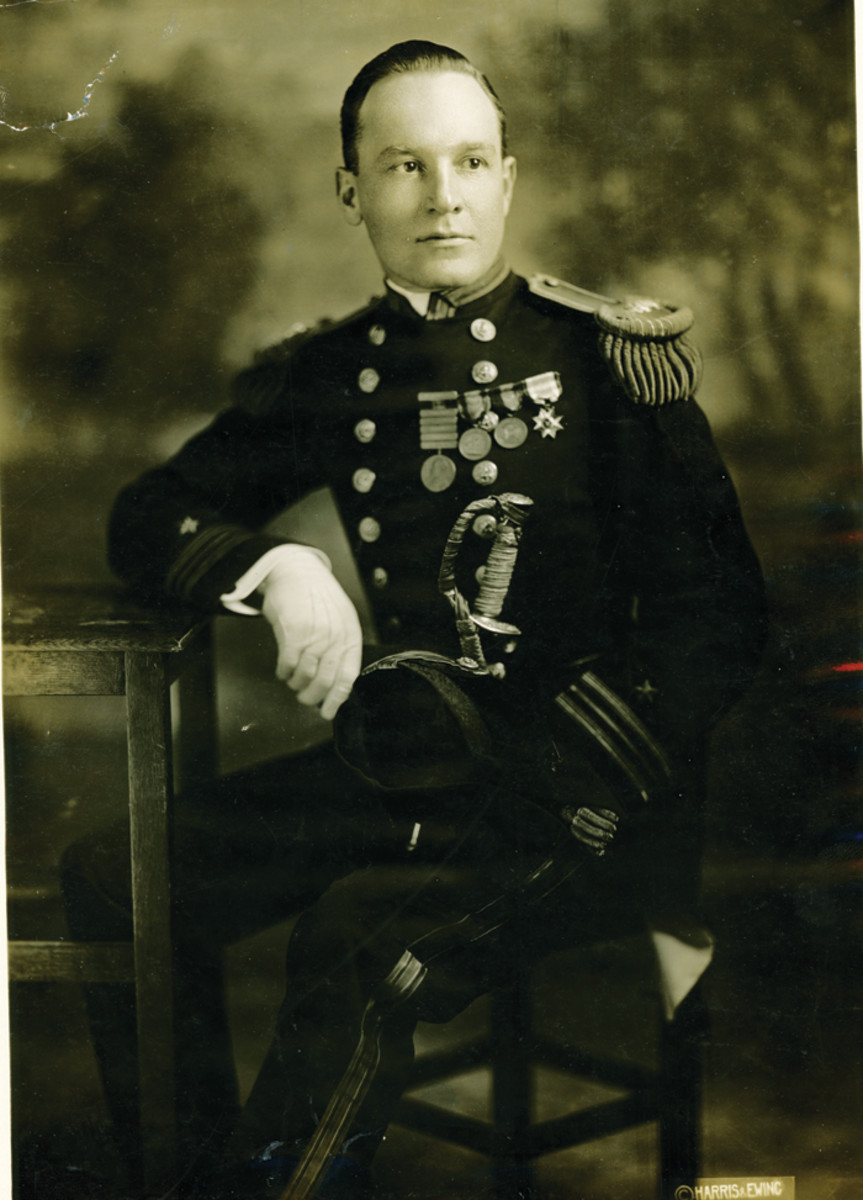 Captain Edward McCauley Jr. commanded the USS George Washington during WWI. The George Washington delivered 48,000 passengers to France and returned 34,000 to the United States after the Armistice. She also carried U.S. President Woodrow Wilson to France twice for the Paris Peace Conference.