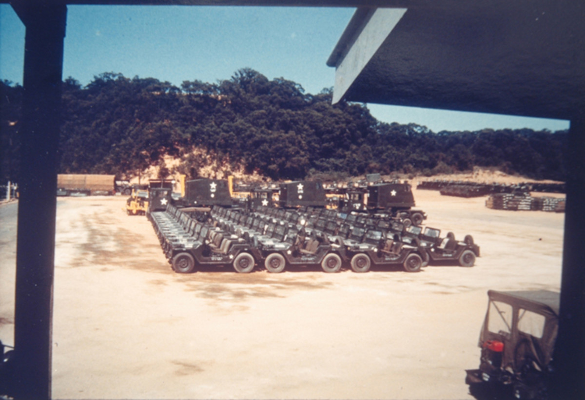 A collector's dream – a mass of over 40 new M151s photographed in February 1970 at a supply depot at Cam Rahn Bay, Vietnam. This depot was operated under contract by the Vinnell Corporation – one of the many contractors operating U.S. facilities during the war.