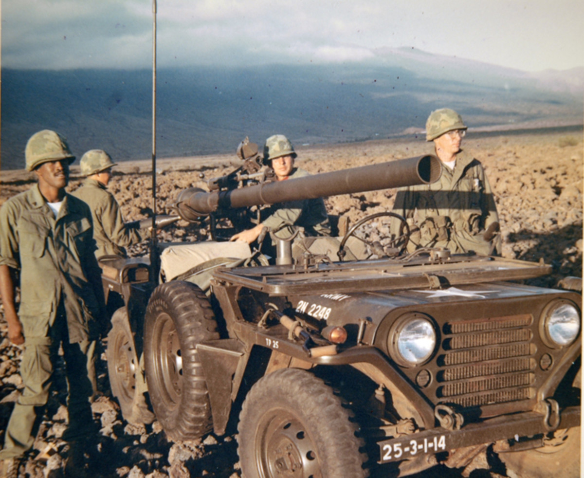 The MUTT was also adapted to mount the M40A1 106mm Recoilless Rifle. This version, belonging to the Third Battalion, 14th Infantry, 25th Infantry Division, was first known as the M151A1C, shown here, and when based on the M151A2 chassis, the vehicle was designated the M825.