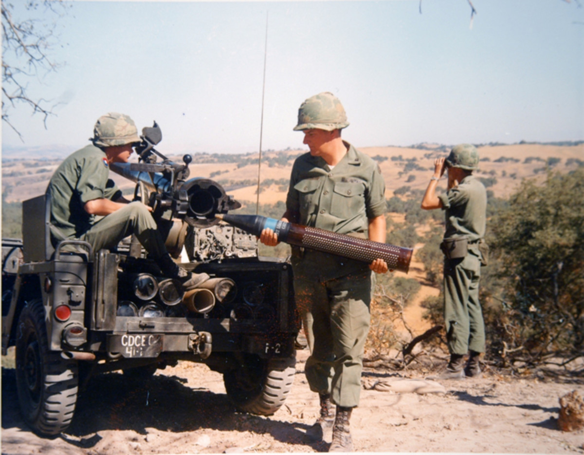 The crew of a 106mm-armed M151A1C drills at Fort Ord in 1970. Notice the stowage arrangement for the 106mm rounds at the rear of the vehicle, and the radio set mounted on the right rear fender.