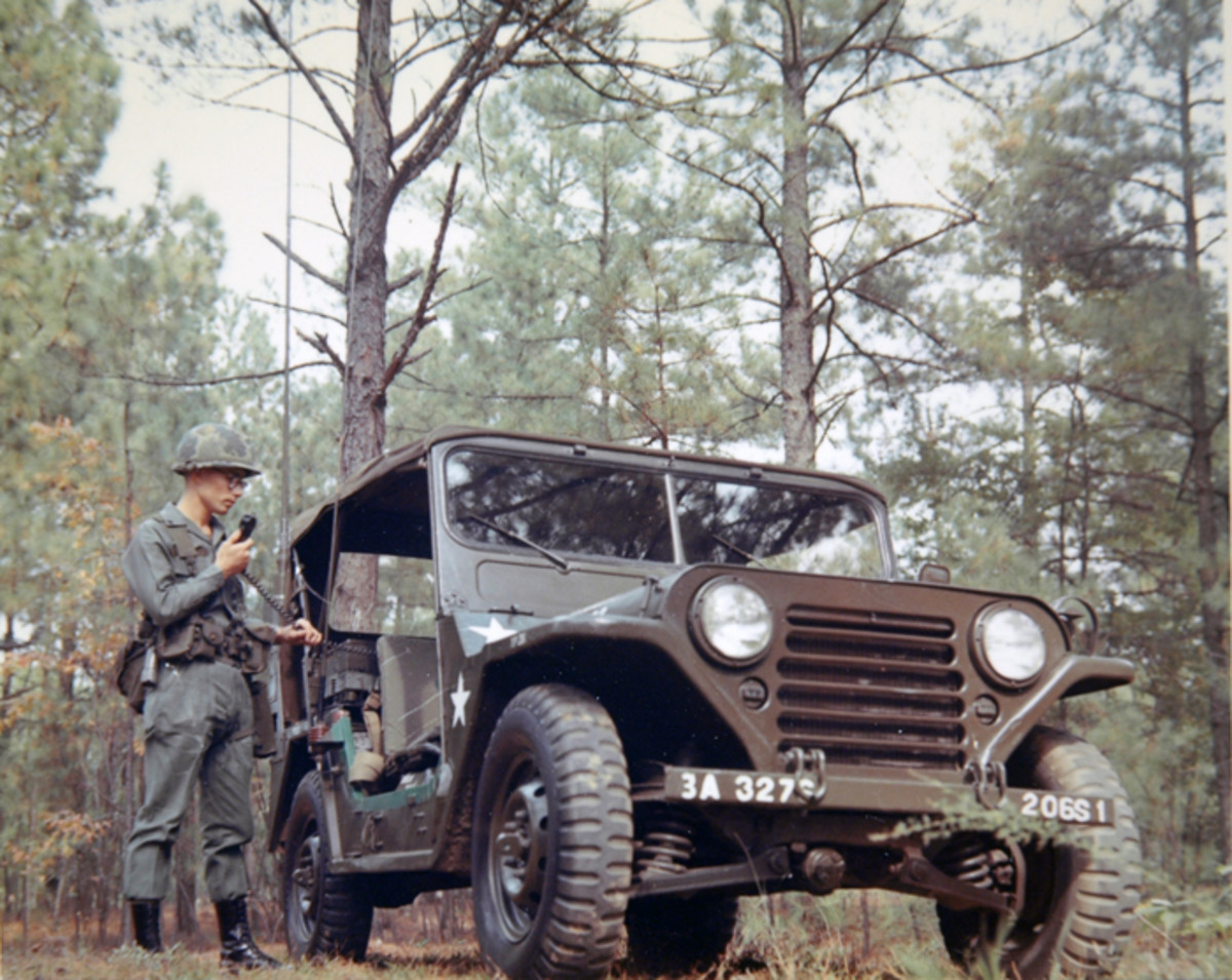 The M151 was the standard Army utility vehicle when this photo was taken at Fort Bragg in September 1969. This vehicle is equipped with a VRC-46 radio system.