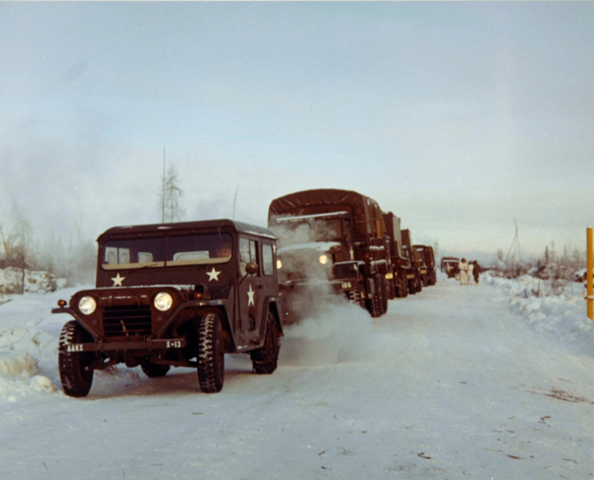 The MUTT served wherever the U.S. Army served, not just in the mud and jungles of Vietnam. This 272nd Signal Company vehicle leads a convoy near Fort Richardson Alaska in February 1969 as part of Exercise Acid Test I, Punch Card V. This vehicle is equipped with the arctic hard top cab enclosure.