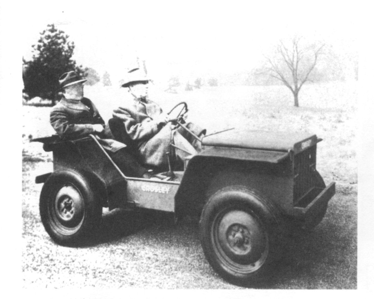 "Crosley's wartime production is best known for the Pup. An early CT-3 ""Pup"" was Crosley Motor's answer to the Jeep. That's the ""brains behind the Pup,"" Powel Crosley, Jr. at the wheel."