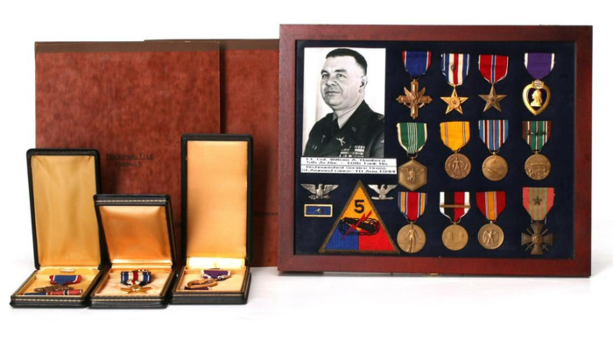 Military awards of Lt. Col. William A. Hamberg, 5th Armored Division, including Silver Star, Bronze Star, Purple Heart, many other medals; plus military record, orders, photos.