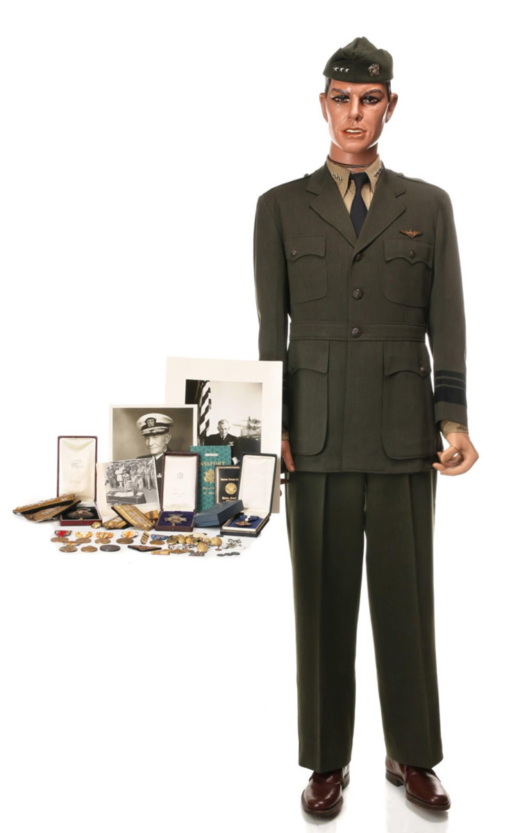 Military career archive of Admiral John S. McCain, including his uniform, many medals including Navy Cross and Distinguished Service Medal; aviator certificate, documents signed by Halsey, Roosevelt, MacArthur, Truman. Formerly the property of the McCain family.