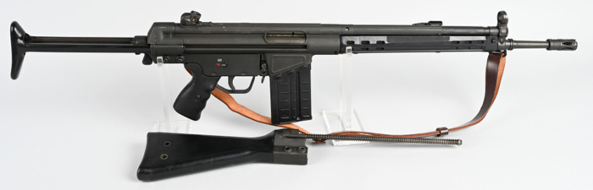 High-quality Heckler & Koch HK41 semiautomatic 7.62-caliber NATO civilian rifle, 1966, fewer than 1,300 made, with only about 400 imported to the United States. Sold above estimate for $11,100
