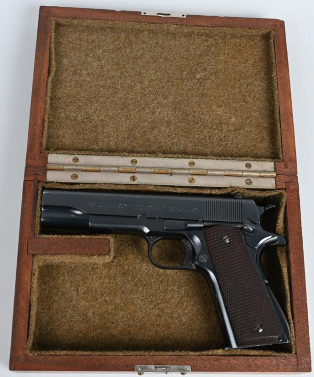 Near-mint pre-WWII Colt National Match 1911-A1, .45ACP caliber, made in 1934, considered the finest Colt Automatic ever made. Sold within estimate for $8,700