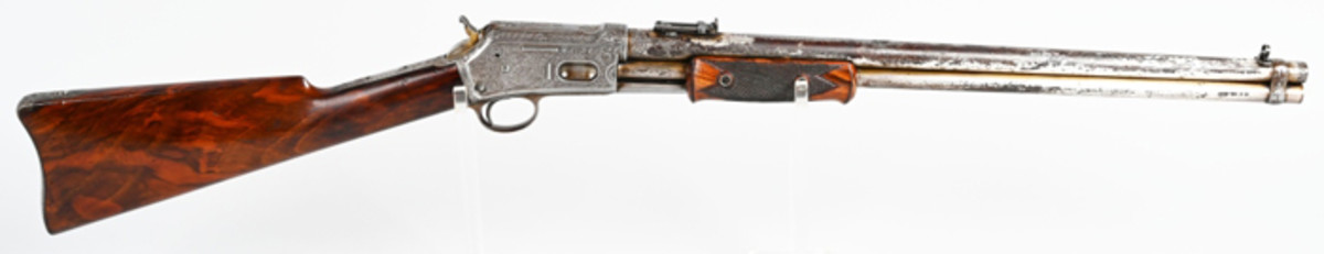 Rare .44-.40-caliber Colt Lightning SRC made in 1891 and shipped to Schoverling, Daly & Gales in New York. Fastest repeating gun of its day. Extensively engraved by shop of Cuno Helfricht. Sold for $19,800 against an estimate of $8,000-$12,000