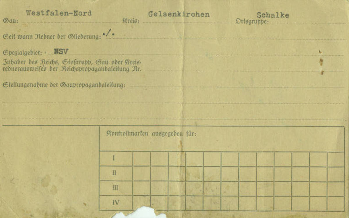 Gelsenkirchen Nazi Party District Administration Propaganda Office File Card for the District Spokesman's ID Card issued to Hugo Bruss (Reverse)