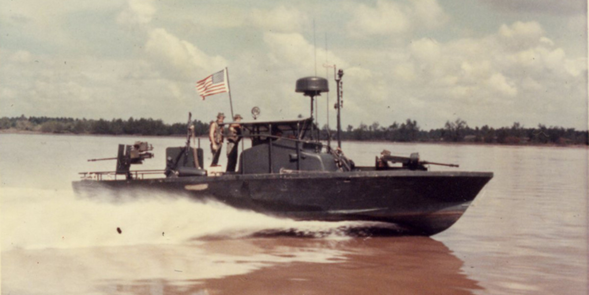 Mark II PBR cutting through the brown water of the Mekong Delta. Collectors eagerly seek patches of the River Patrol units. Unfortunately, forgers are all too willing to fill the demand.