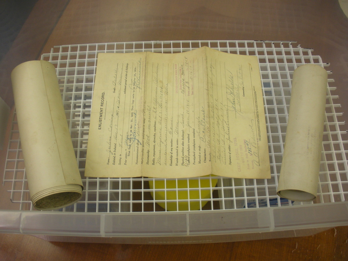Documents on the egg crate, making sure they don't touch each other.