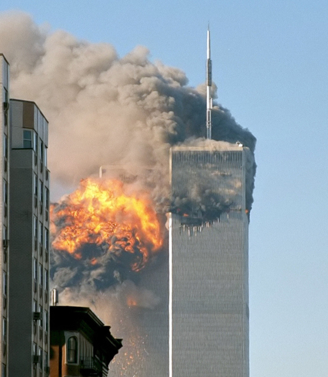 The north face of Two World Trade Center (south tower) immediately after being struck by United Airlines Flight 175.