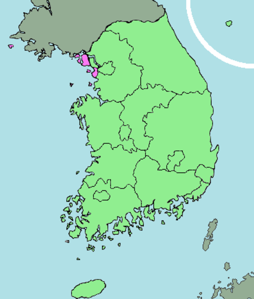Inchon, South Korea, in pink coloring.