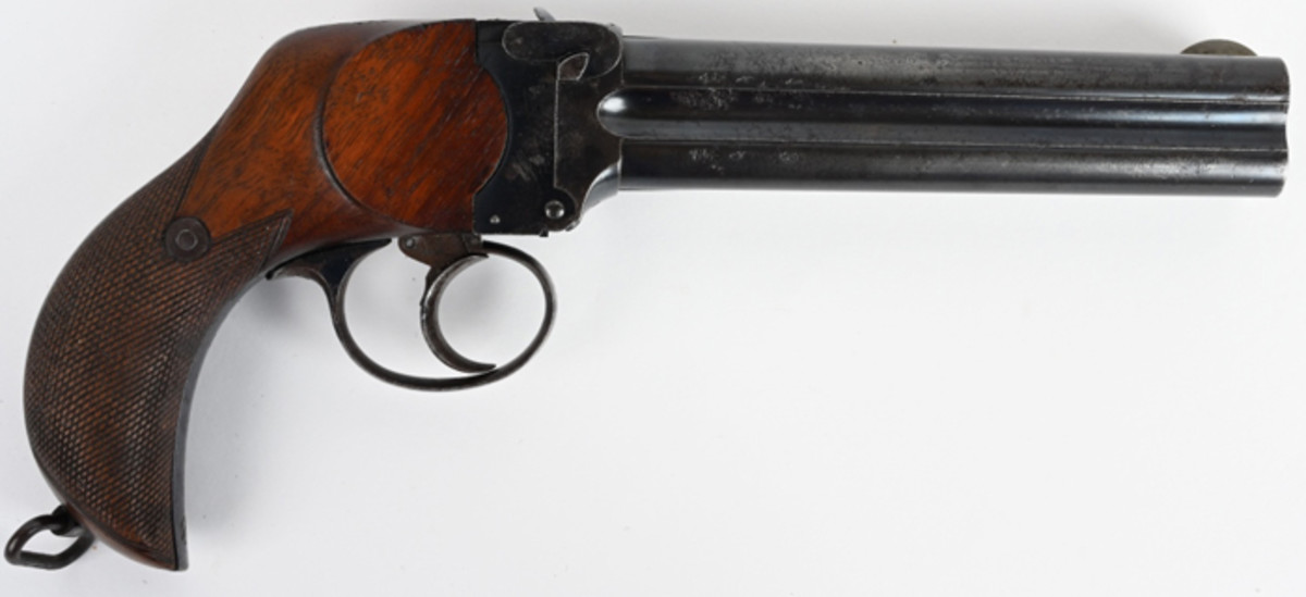 Scarce antique 4-barrel, .476-caliber Eley multi-shot, big-bore handgun. Top barrel rib is stamped CHARLS LANCASTER (PATENT) 151 NEW BOND ST LONDON. All four barrels British proofed. Rare, high-condition gun