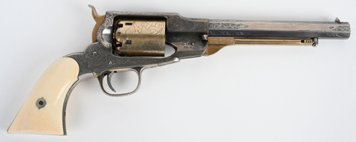 Remington Beals Navy revolver made only in the years 1861-62, .36 bore, 7¼ in barrel, exquisite engraving attributed to L.D. Nimscke. Arguably the finest, most highly decorated revolver of its type extant.