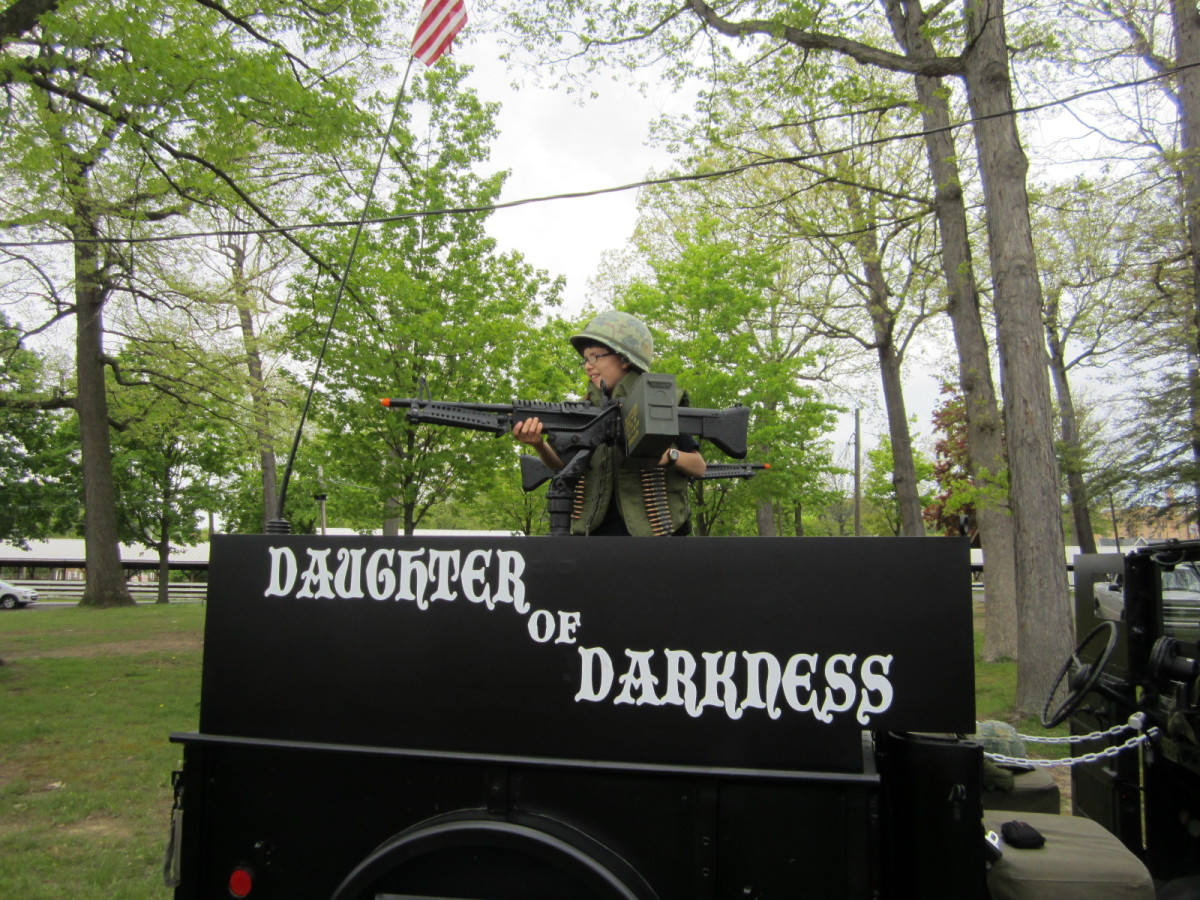 "Daughter of Darkness is a ""hands-on."" Scott uses it for military events and displays as well as car shows and parades. Children are encouraged to climb aboard and gear up with flak vests and helmets."