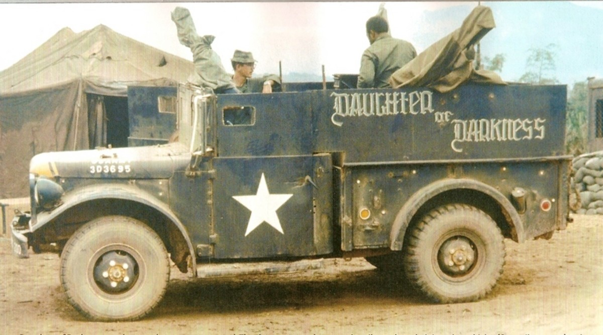 Daughter of Darkness was a Vietnam gun truck built on an M37 Dodge 3/4-ton tactical truck. As with all gun trucks that saw service in Vietnam, it was built in-country in a transportation unit motor pool using parts, armor, and weapons that had been procured through channels, or appropriated otherwise. Per gun truck tradition, it received its unique name from its crew.