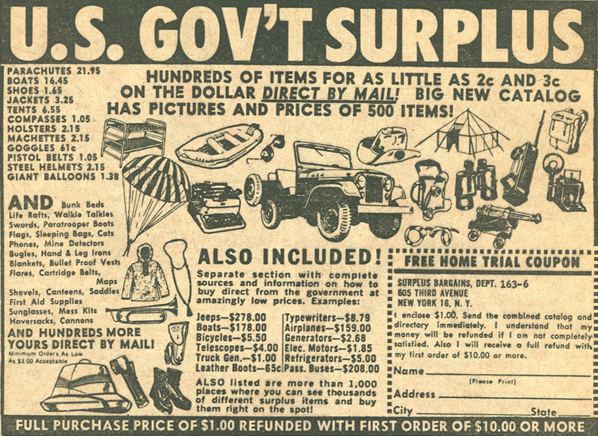 Period advertisement for military surplus, including Jeeps
