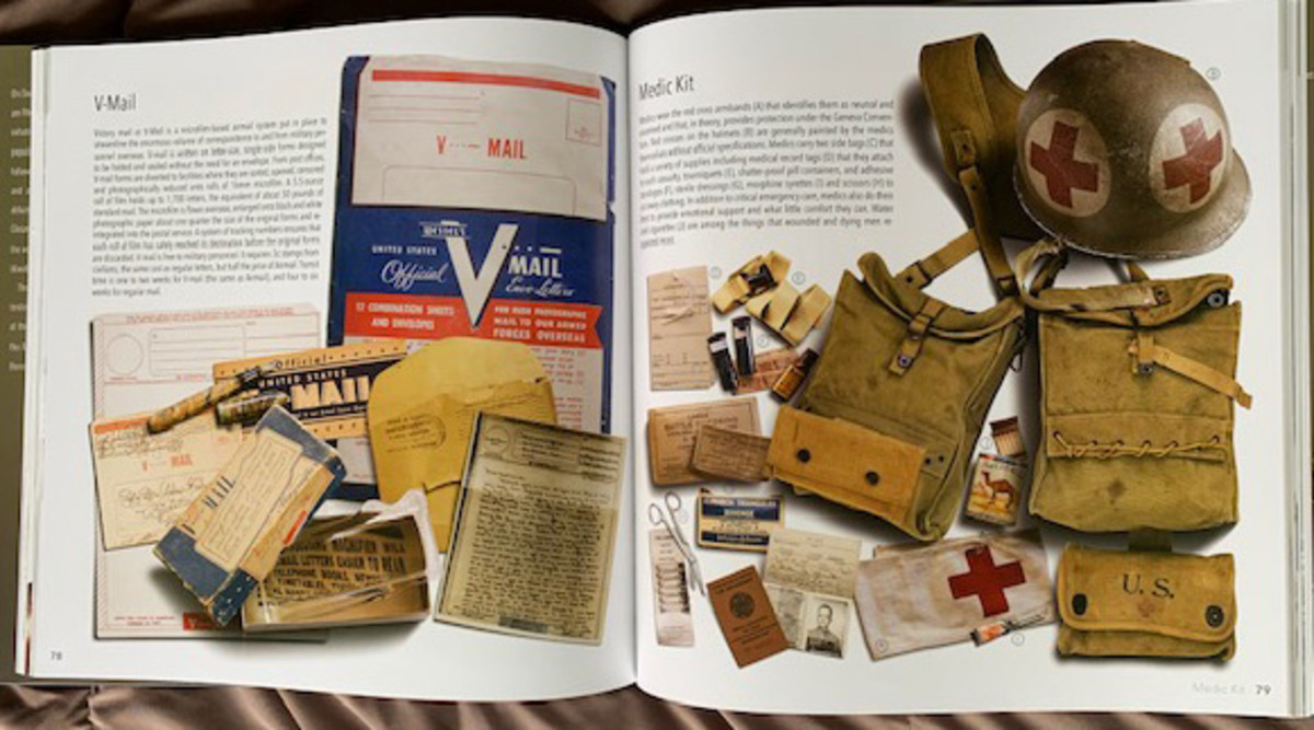 2-page spread showing use of artifacts to illustrate book.