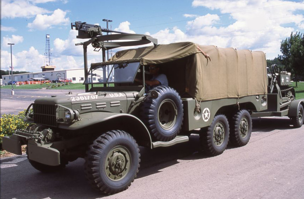 Besides the 6x6 configuration, the winch on the front of this 1-1/2-ton Dodge identifies this truck as a WC-63.