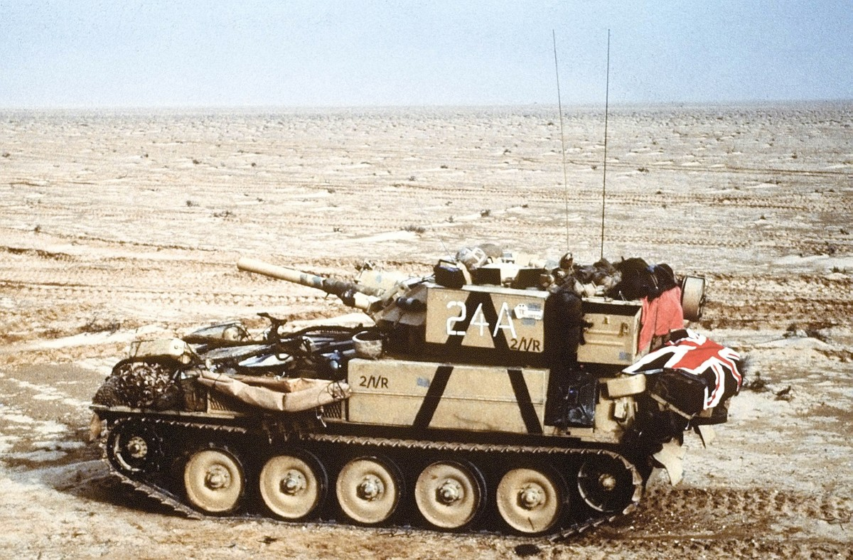A Scorpion reconnaissance vehicle of the 7th Brigade Royal Scots, 1st United Kingdom Armored Division, advances east into Kuwait from southern Iraq during Operation Desert Storm.