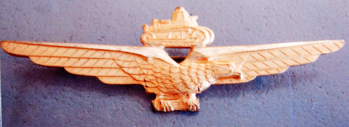 Tank driver badge, Fascist Era evidenced by the Fascist symbol in eagle's talons.