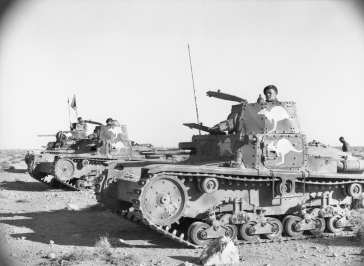Captured Italian Armato M13/40 (far left) and M11/39 (middle and right) tanks being used by the Australian 6th Division Cavalry Regiment during the capture of Tobruk.