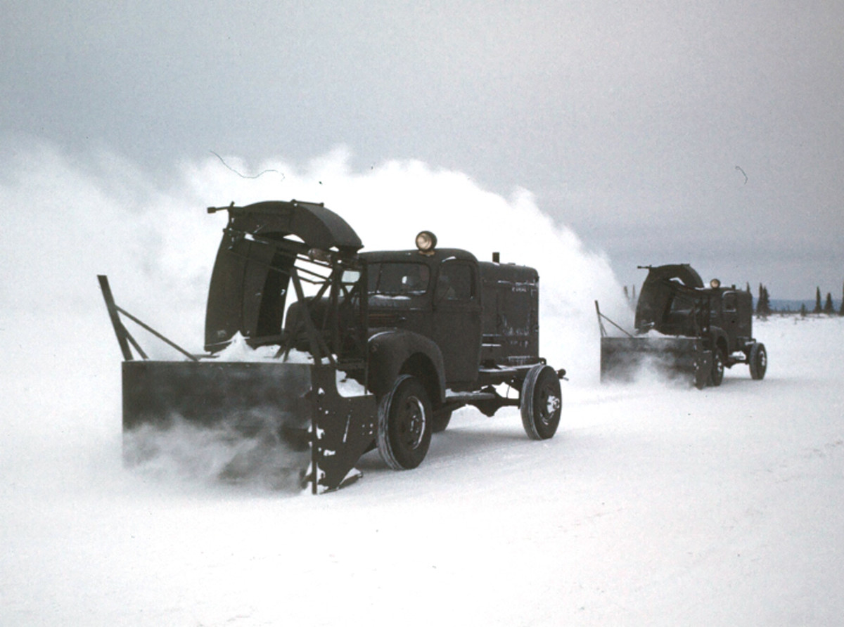 GOOSE BAY, LABRADOR,CANADA- DECEMBER 1942: A view of airfield snow blowing trucks clearing snow on the U.S. Air Base in Goose Bay,Labrador, Newfoundland,Canada.