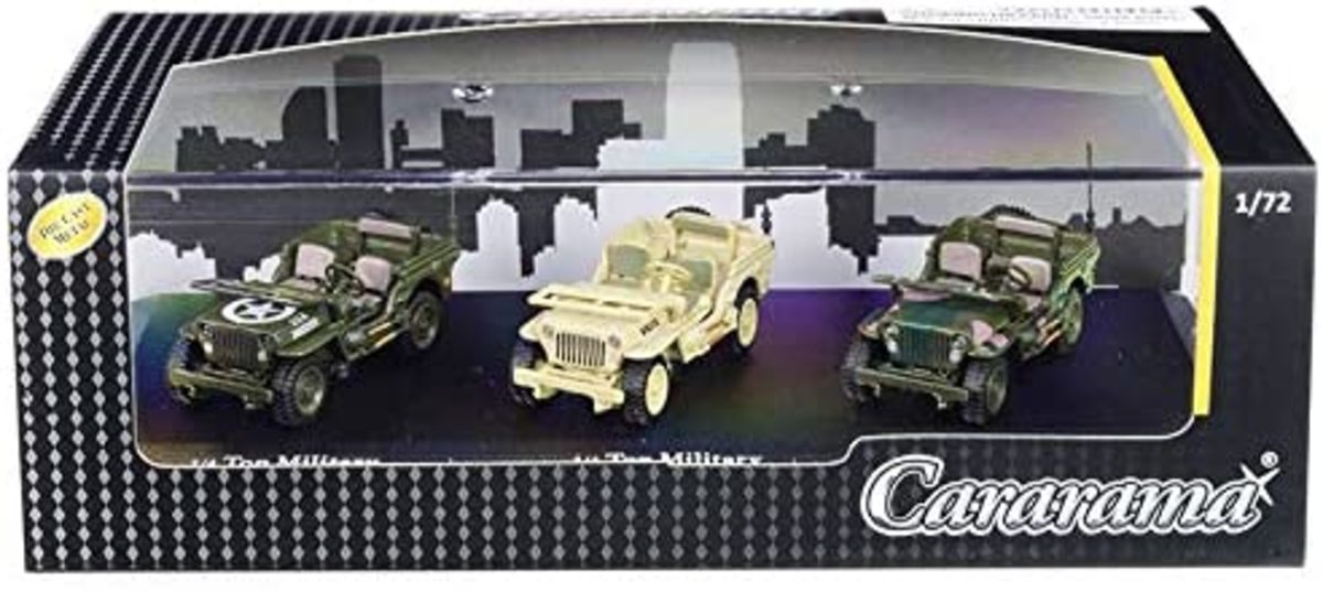 "This set of three Jeeps are individually painted: One as US Army, one in British camouflage, and one in khaki with ""Willys"" on the hood.  Not a bad set for about $14."