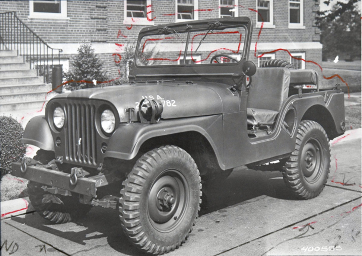 """This July 1952 photo is the original of the famed Raritan Arsenal (""""RAPD"""") publicity photos. Note the original lines drawn to aid the air brush artisans. Also worth mentioning are the hinges holding the grille at its base and the diagonal seam on the fender."""