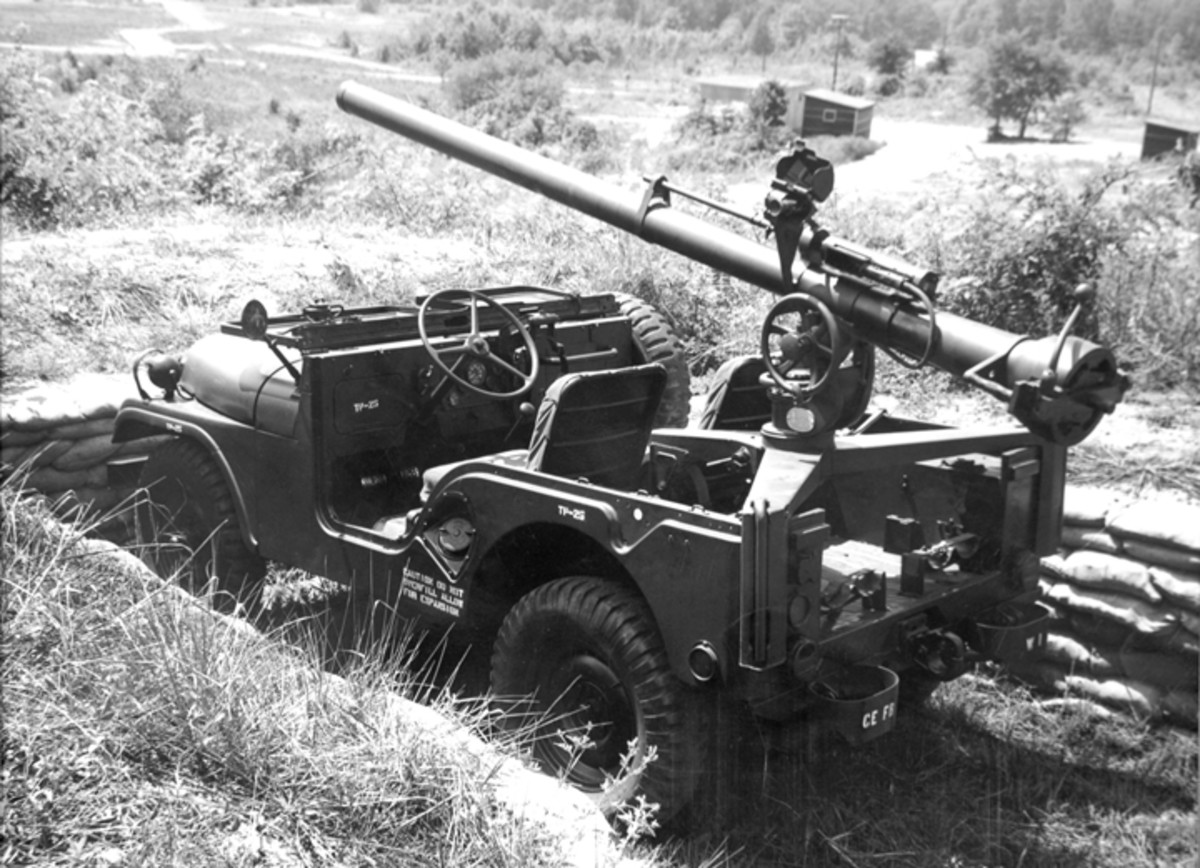 During WWII the army experimented with mounting a recoilless rifle on a Jeep. Further testing was done with the M38, but the concept truly came into its own with this vehicle, the M38A1C.