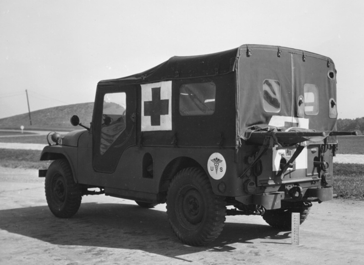 """The M170 field ambulance was the most common of the M38A1 derivatives. Production of this 20""""-longer version of the M38A1 totaled 4,155 units and spanned 10 years from 1953 through 1963. The civilian CJ-6 was based on this vehicle."""