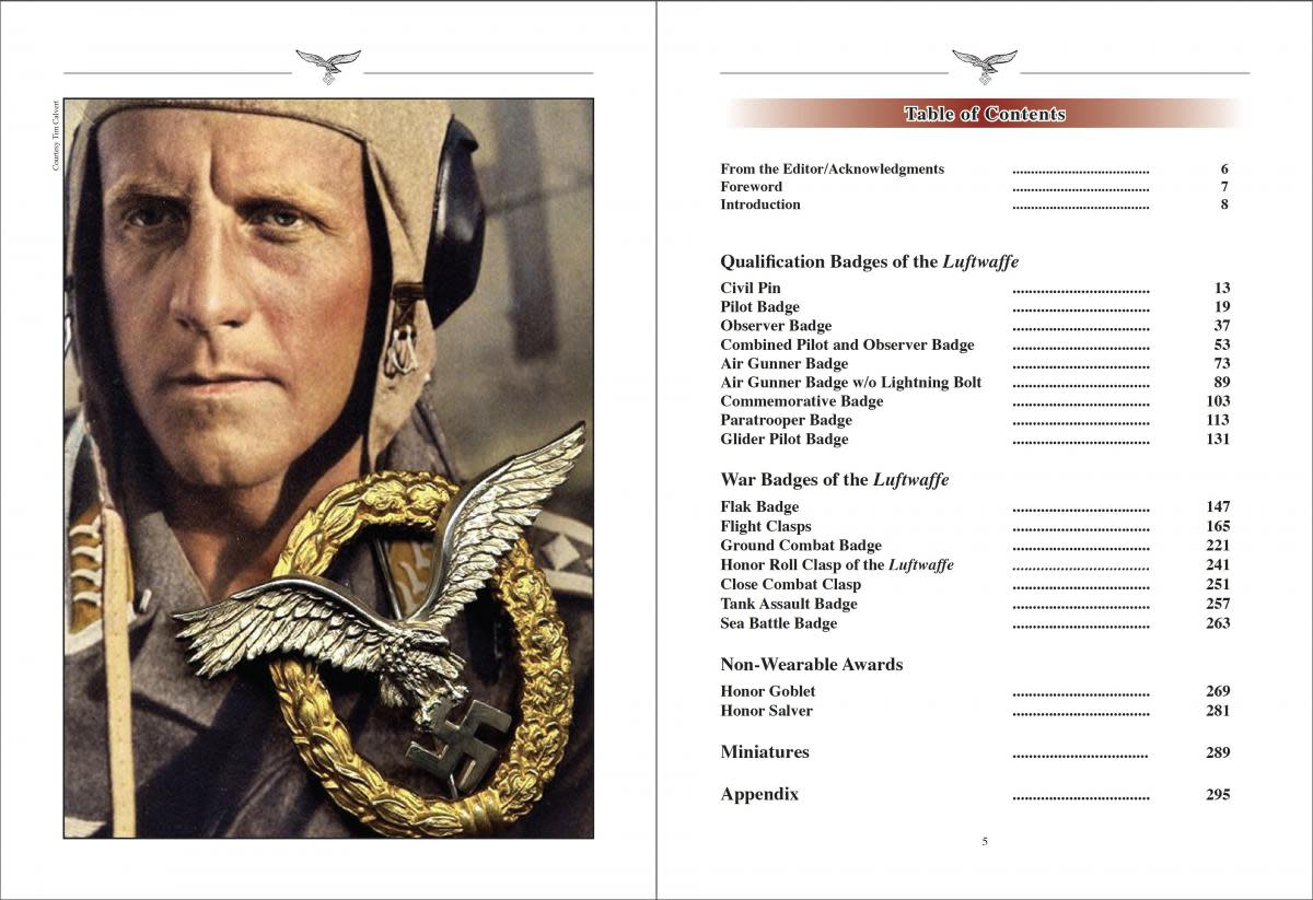 Table of contents of The Awards of the Luftwaffe, by Antonio Scapini