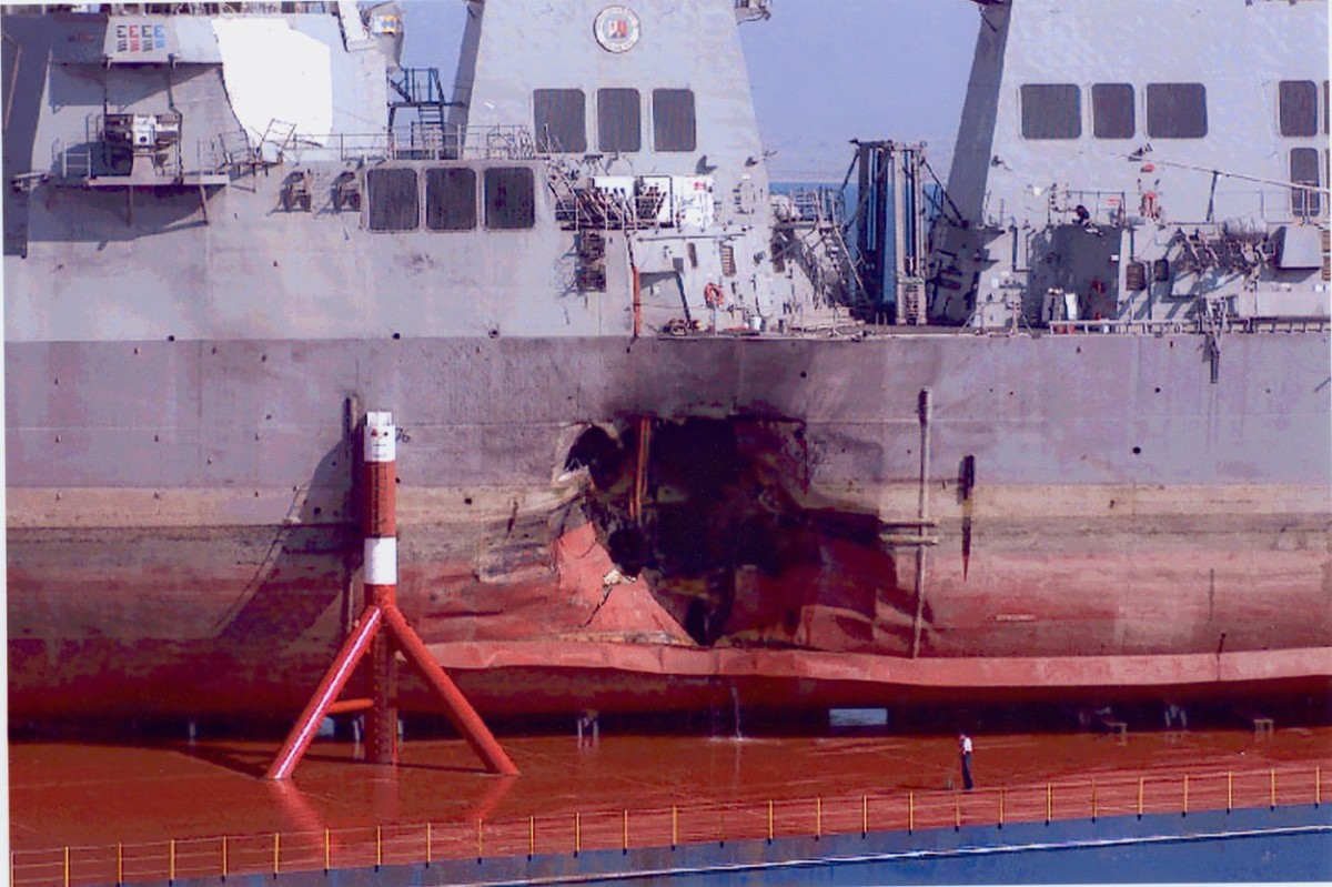 On October 12, 2000, suicide terrorists exploded a small boat alongside the USS Cole—a Navy Destroyer—as it was refueling in the Yemeni port of Aden.The blast ripped a 40-foot-wide hole near the waterline of the Cole, killing 17 American sailors and injuring many more.