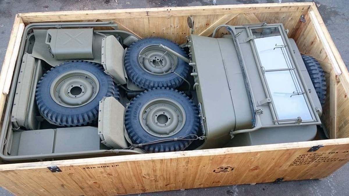Wait! Here is a WWII Jeep in a crate! Well, it is a reconstruction of one.