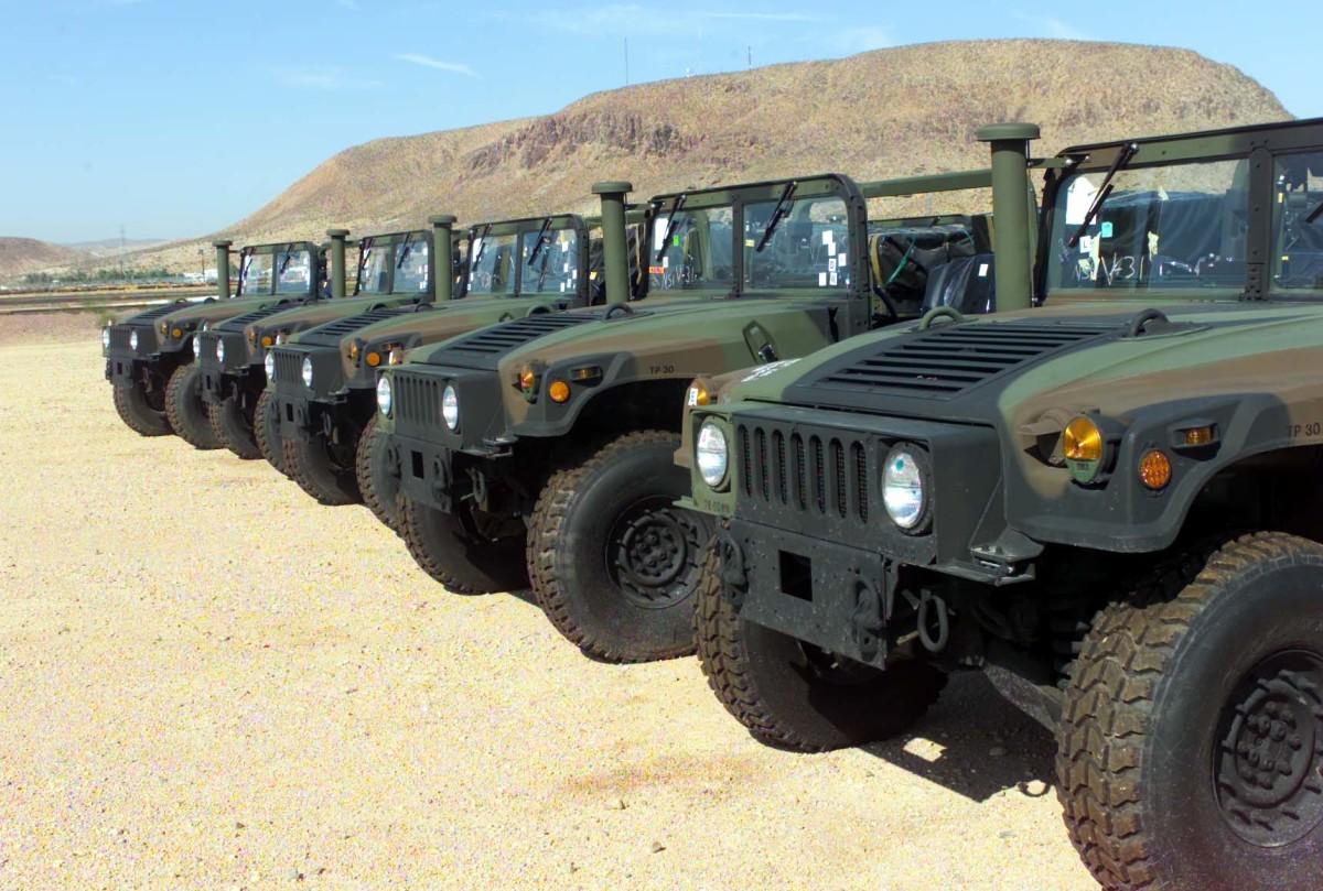 Line of surplus HMMWVs