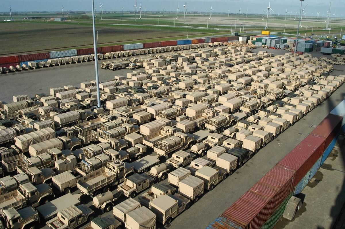 Vehicles lined up for deployment