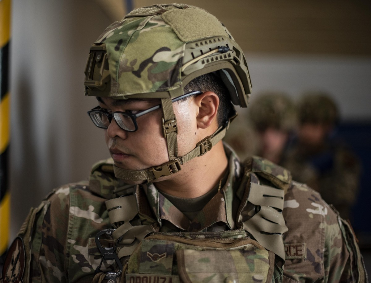 Airman Alex Orquiza, 71st Security Forces Squadron, wears the next generation of ballistic helmet during a door breaching exercise at Vance Air Force Base, Oklahoma, Sept. 15, 2020.