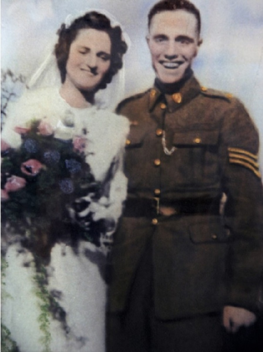 Sgt. Balding and the new Mrs Balding on their wedding day 1942.