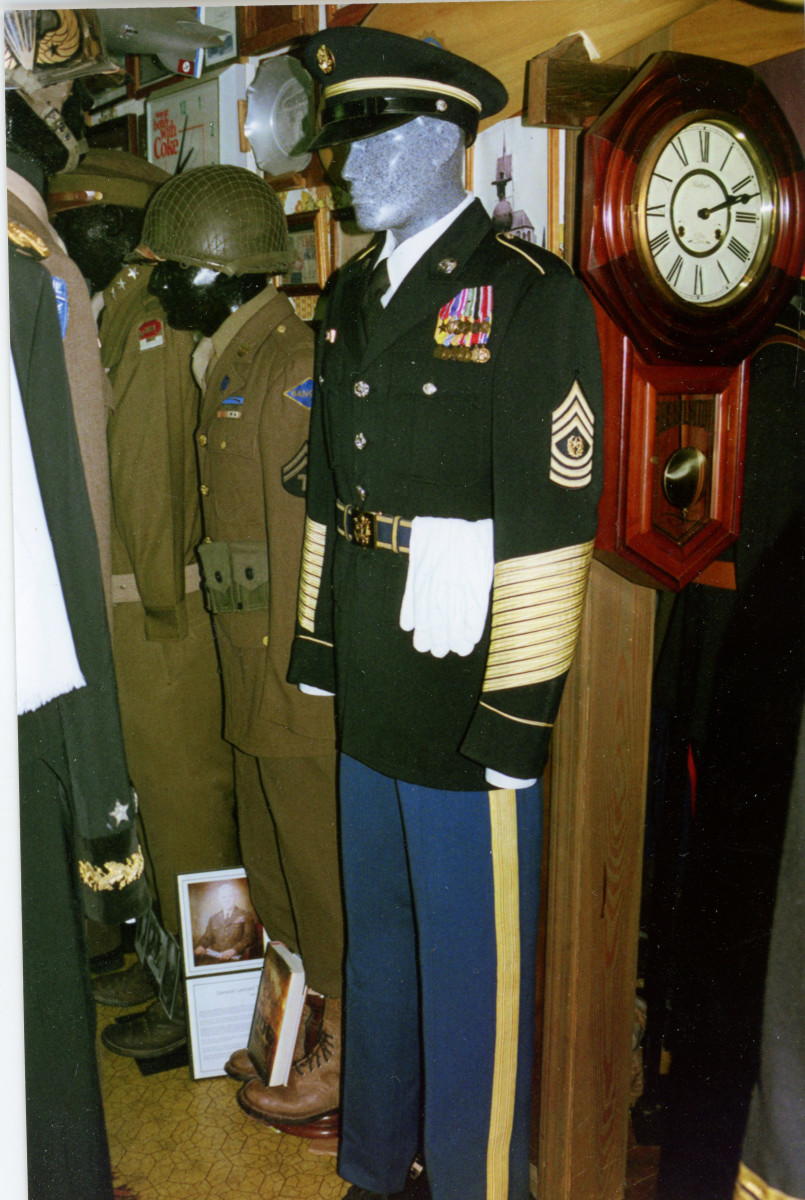 The WWII-related uniforms includes a Command Sergeant Major's uniform that belonged to a veteran of the Philippines Campaign where he was held as a prisoner of war.