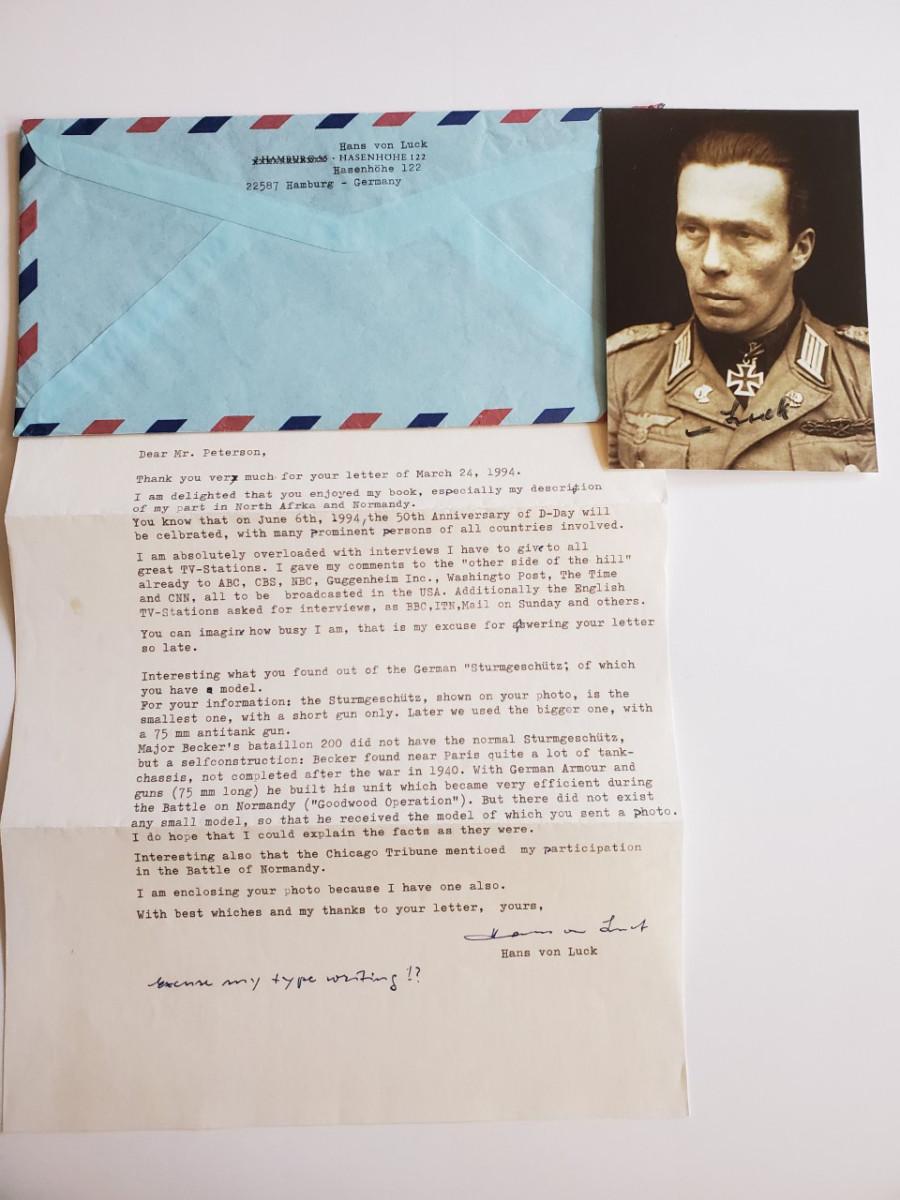1994 correspondence from Hans von Luck concerning Becker and his assault gun cigarette case.