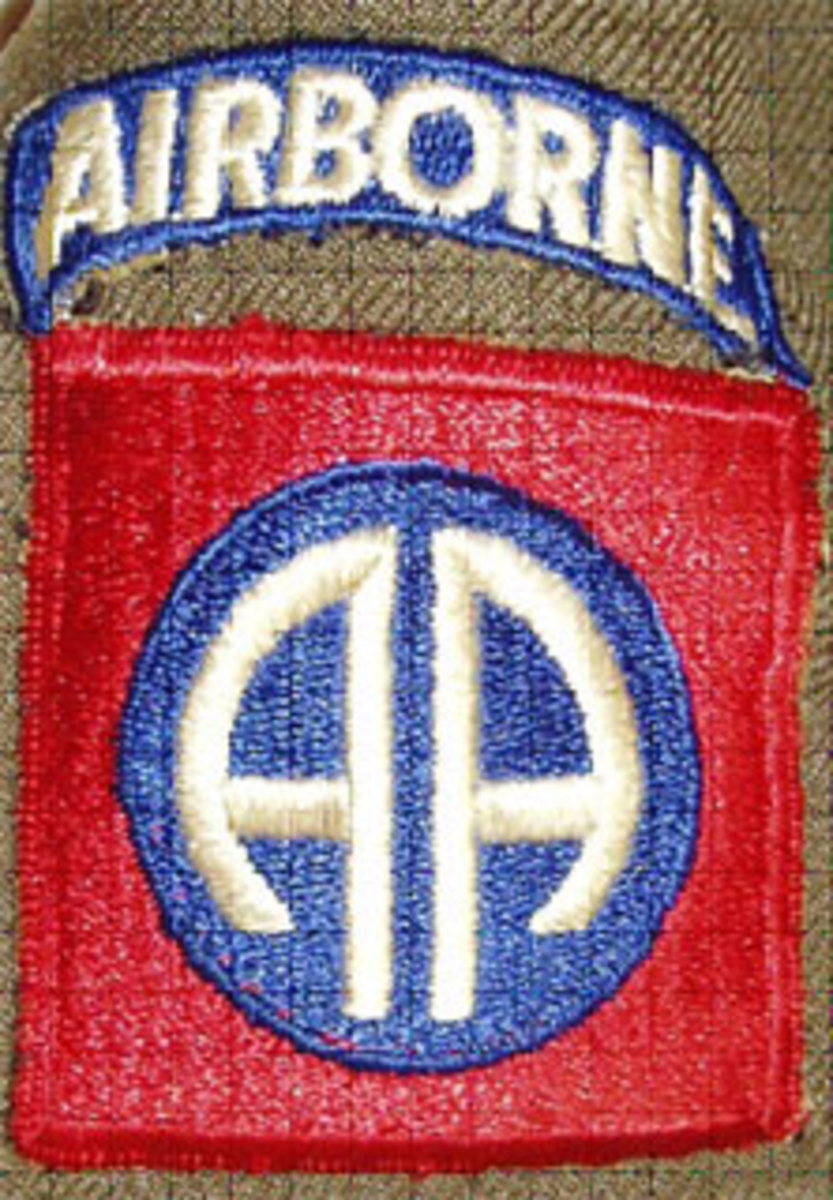 82nd Division shoulder sleeve insignia on a jacket on worn by Sergeant Arnold Gustafson during World War II.