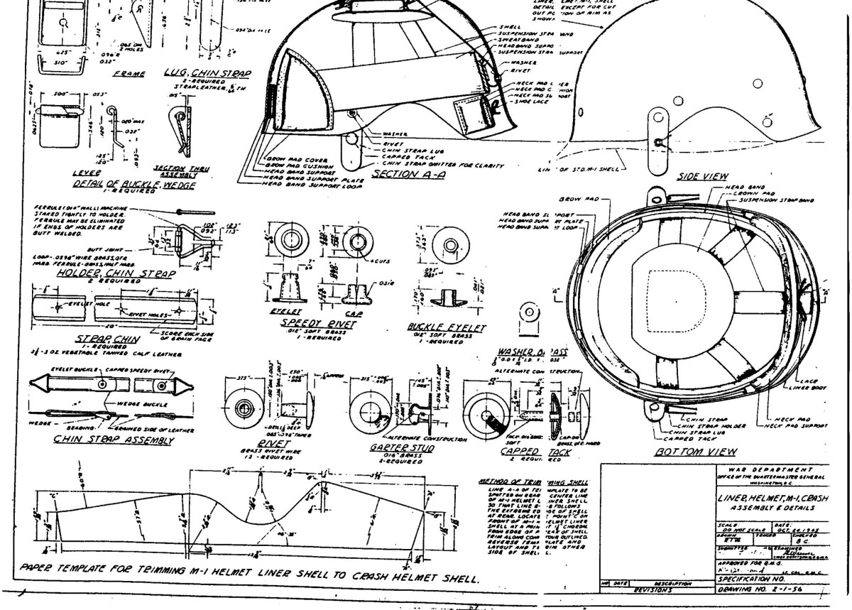The design specifications for the 'Liner, Helmet, M-1, Crash' was based on the 'Liner, Helmet, M-1' then in use with the M-1 helmet. The specification gave a detailed diagram on how the regular M-1 helmet liner would be cut and shaped along the sides and the front brim as well as the leather bump pads and interior webbing installed.